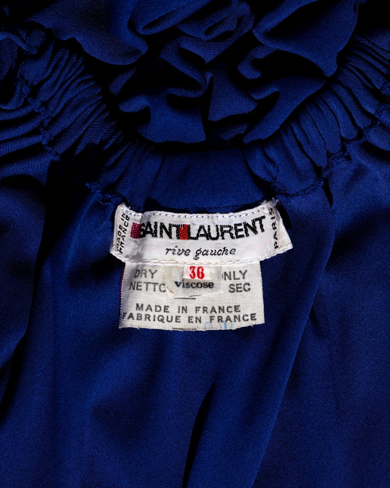 Yves Saint Laurent Egyptian blue rayon tunic and skirt set, c. 1970s For Sale 3