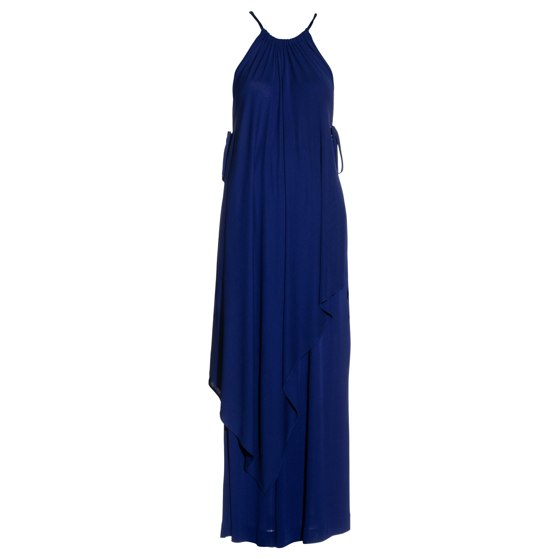 Yves Saint Laurent Egyptian blue rayon tunic and skirt set, c. 1970s