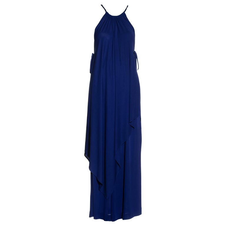 Yves Saint Laurent Egyptian blue rayon tunic and skirt set, c. 1970s For Sale