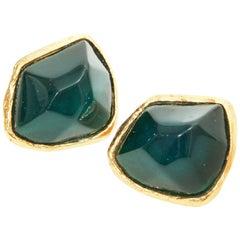 Yves Saint Laurent Emerald Clip-On Earring