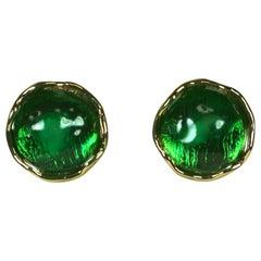 Yves Saint Laurent Emerald Pate de Verre Earrings