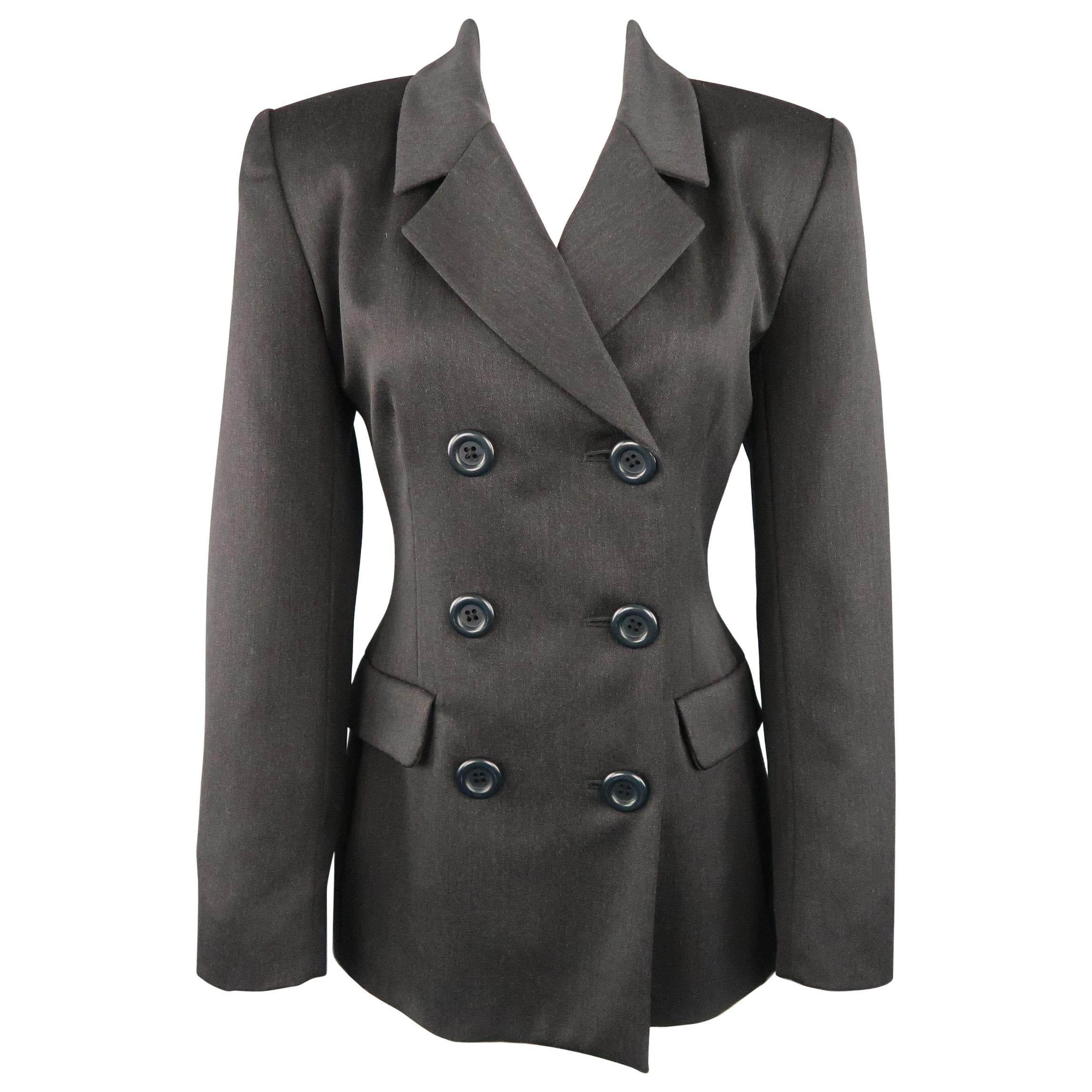 YVES SAINT LAURENT Encore Size 6 Charcoal Double Breasted Jacket