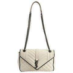 Yves Saint Laurent Envelope Monogram Beige Shoulder Bag