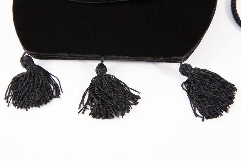 Women's Yves Saint Laurent Evening Black Velvet Shoulder Bag For Sale