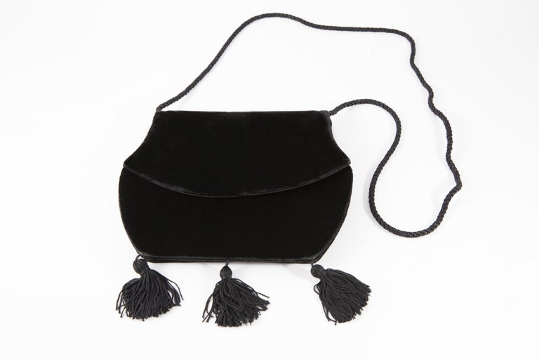 Yves Saint Laurent Evening Black Velvet Shoulder Bag For Sale 1