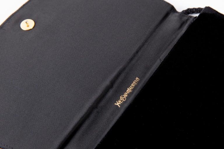 Yves Saint Laurent Evening Black Velvet Shoulder Bag For Sale 2