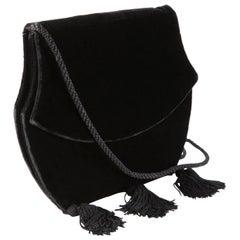 Yves Saint Laurent Evening Black Velvet Shoulder Bag