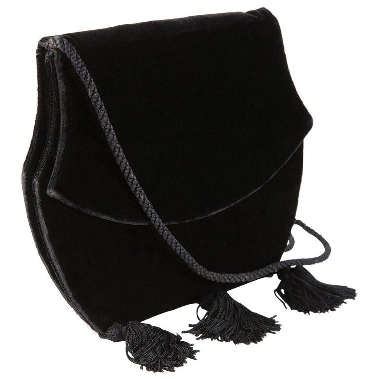 Yves Saint Laurent Evening Black Velvet Shoulder Bag For Sale