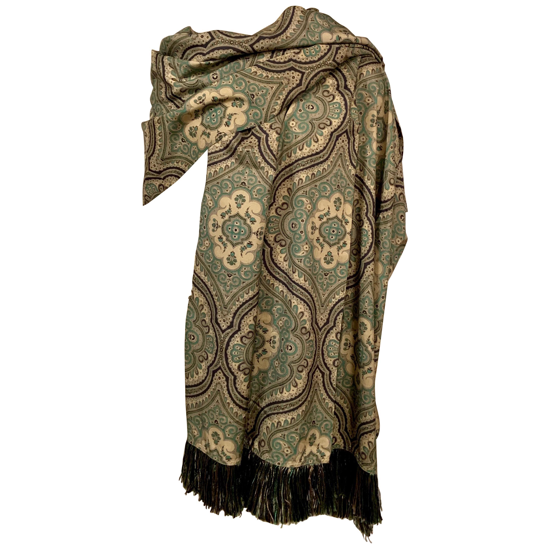 Yves Saint Laurent Exotic Patterned Large Silk Shawl  Never Worn