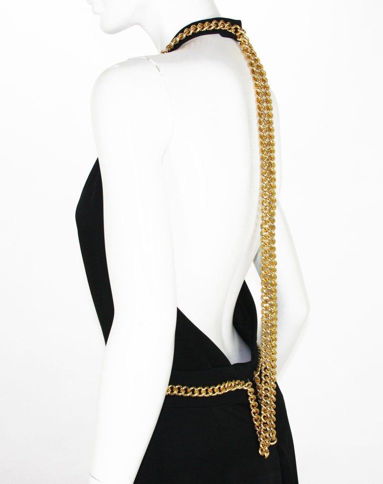 Yves Saint Laurent F/W 2011 Gold Chain-Embellished Crepe Black Jumpsuit Fr. 38 For Sale 6