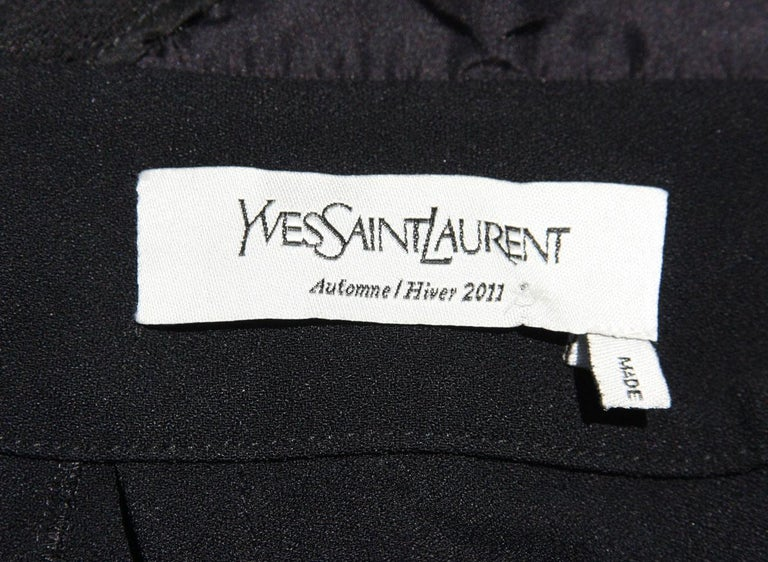 Yves Saint Laurent F/W 2011 Gold Chain-Embellished Crepe Black Jumpsuit Fr. 38 For Sale 16