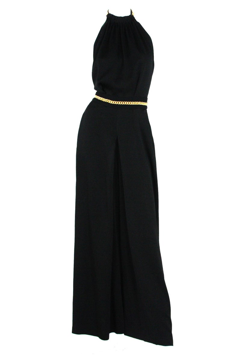 Yves Saint Laurent F/W 2011 Gold Chain-Embellished Crepe Black Jumpsuit Fr. 38 In Excellent Condition For Sale In Montgomery, TX