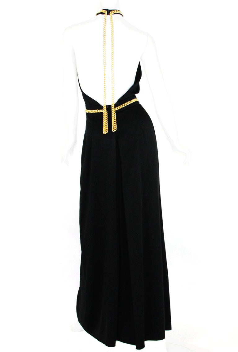 Women's Yves Saint Laurent F/W 2011 Gold Chain-Embellished Crepe Black Jumpsuit Fr. 38 For Sale