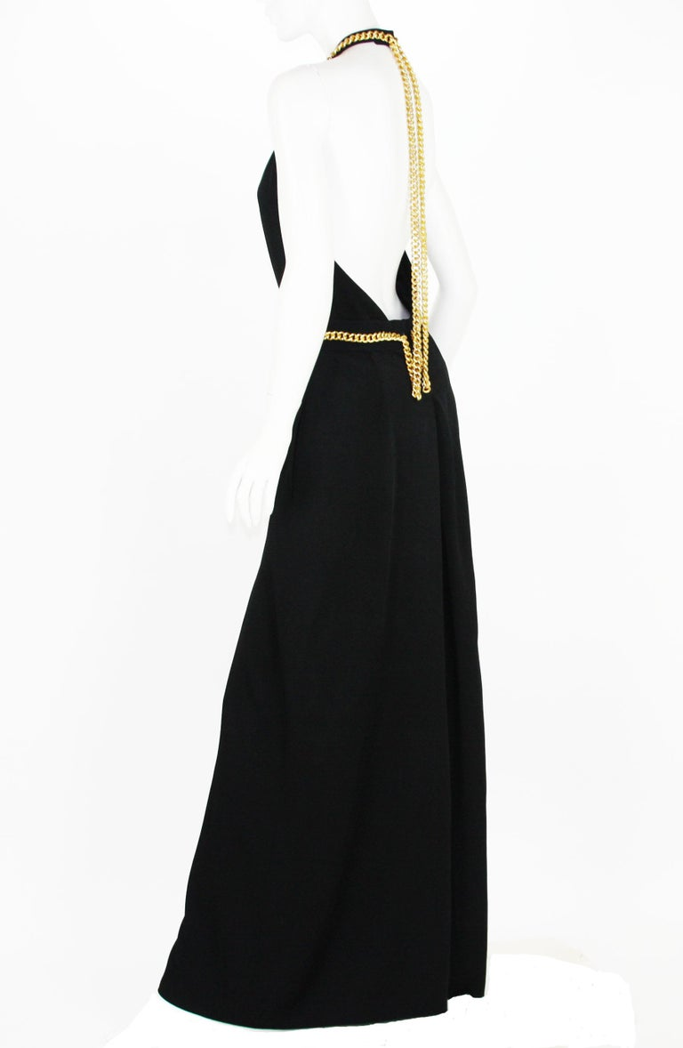Yves Saint Laurent F/W 2011 Gold Chain-Embellished Crepe Black Jumpsuit Fr. 38 For Sale 1