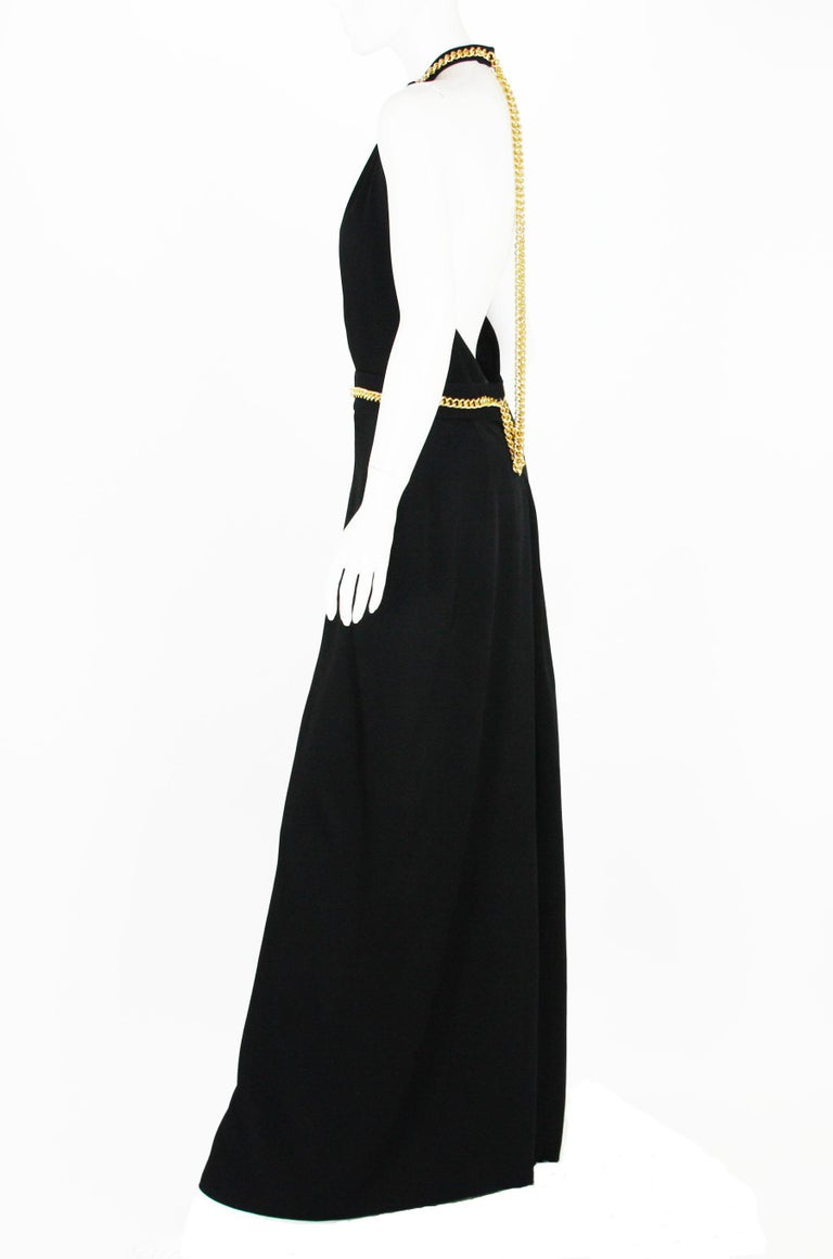 Yves Saint Laurent F/W 2011 Gold Chain-Embellished Crepe Black Jumpsuit Fr. 38 For Sale 2