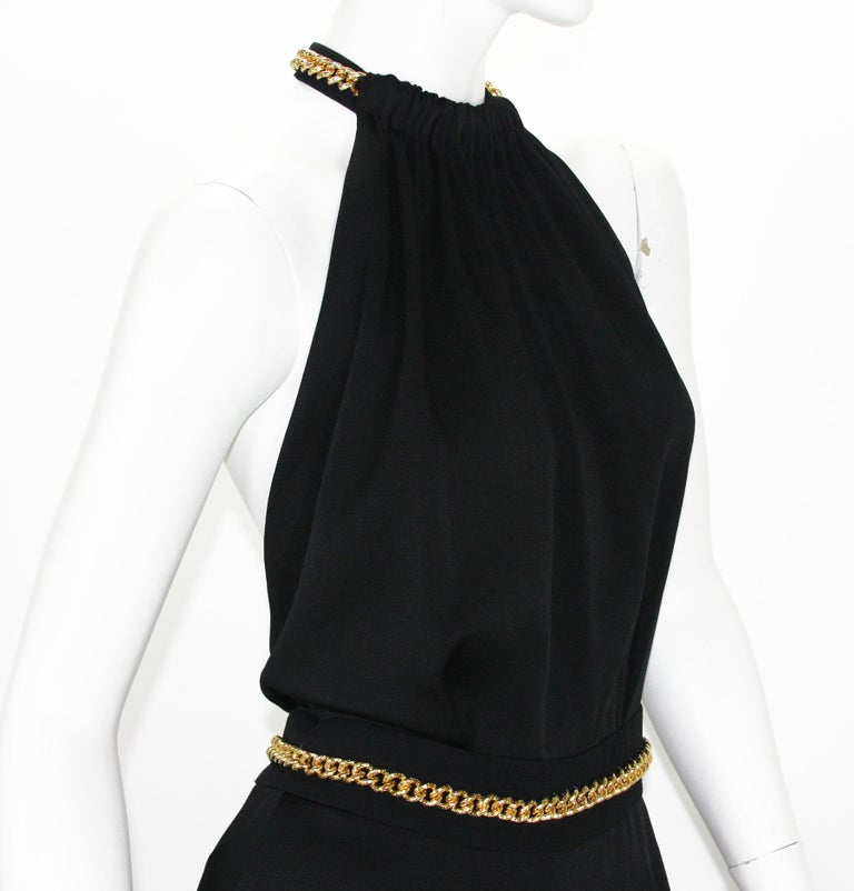 Yves Saint Laurent F/W 2011 Gold Chain-Embellished Crepe Black Jumpsuit Fr. 38 For Sale 3