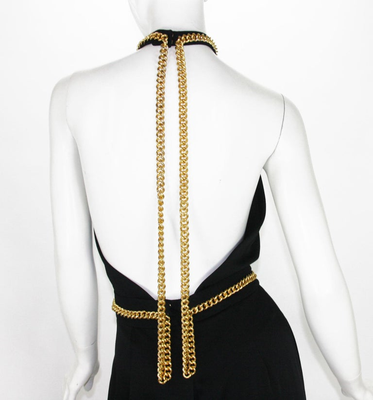 Yves Saint Laurent F/W 2011 Gold Chain-Embellished Crepe Black Jumpsuit Fr. 38 For Sale 5