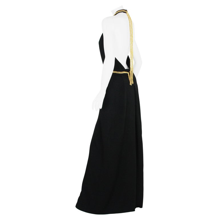 Yves Saint Laurent F/W 2011 Gold Chain-Embellished Crepe Black Jumpsuit Fr. 38 For Sale