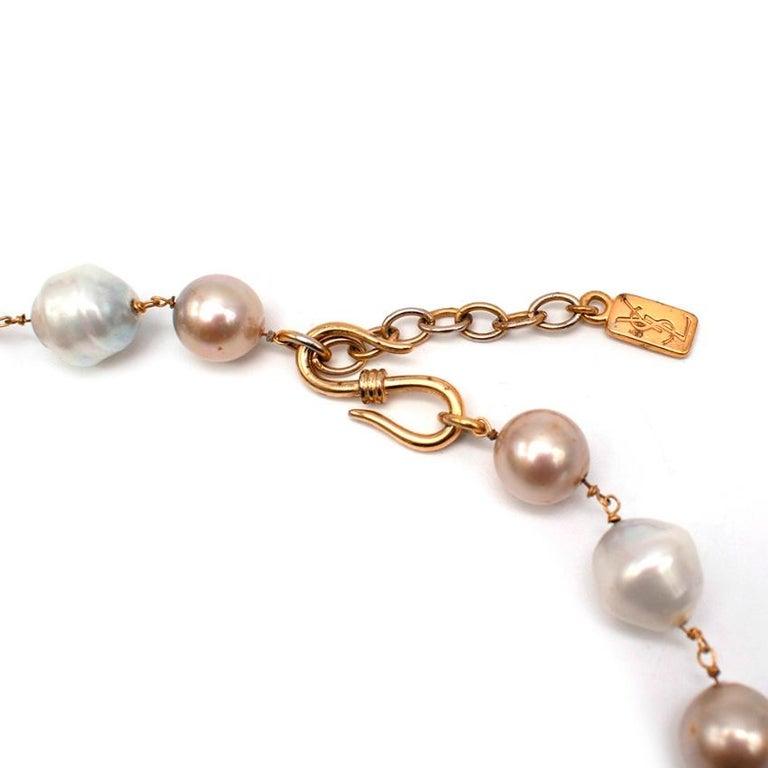 Yves Saint Laurent Faux-Pearl Chain Belt M For Sale 2