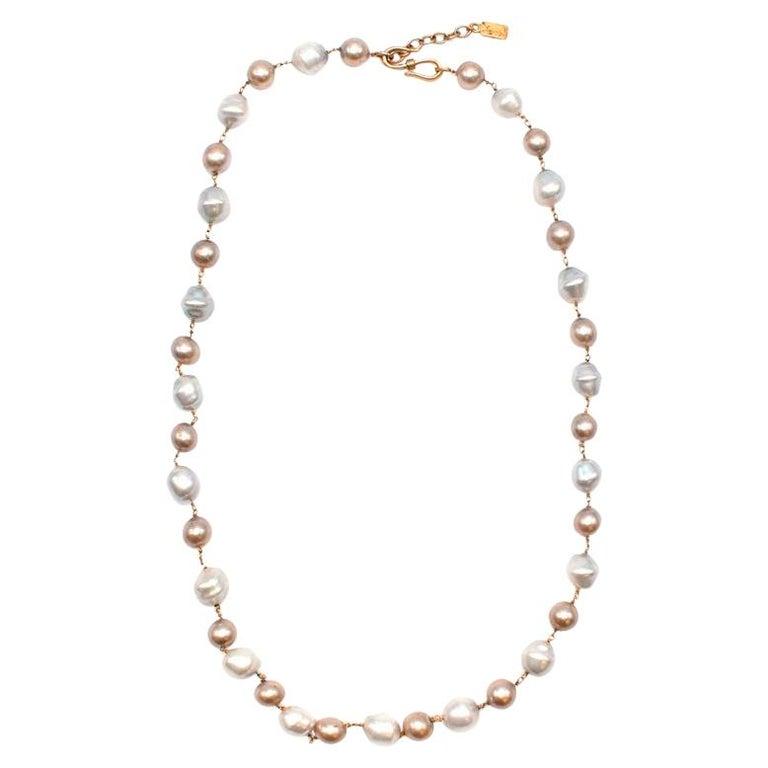 Yves Saint Laurent Faux-Pearl Chain Belt M For Sale