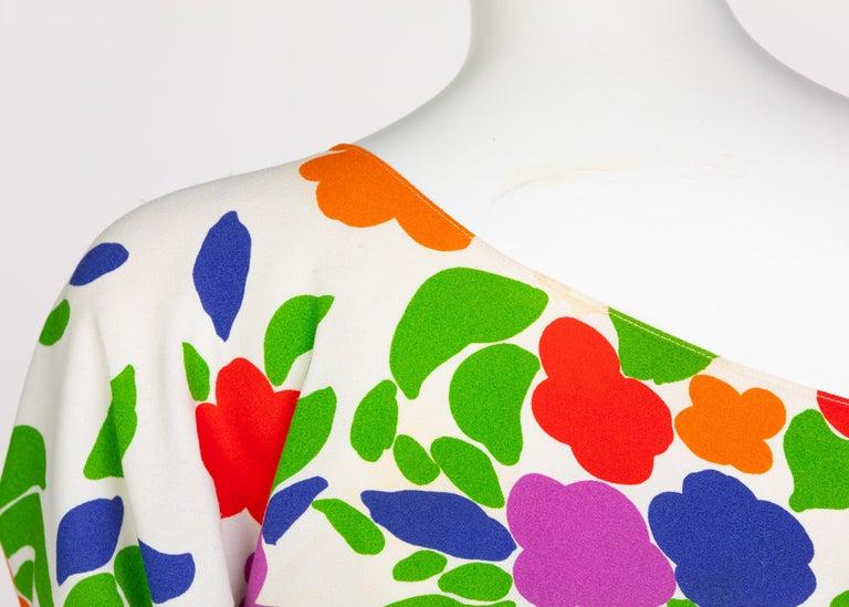 Yves Saint Laurent Floral Draped One Shoulder Top Skirt Ensemble YSL, 1970s For Sale 8