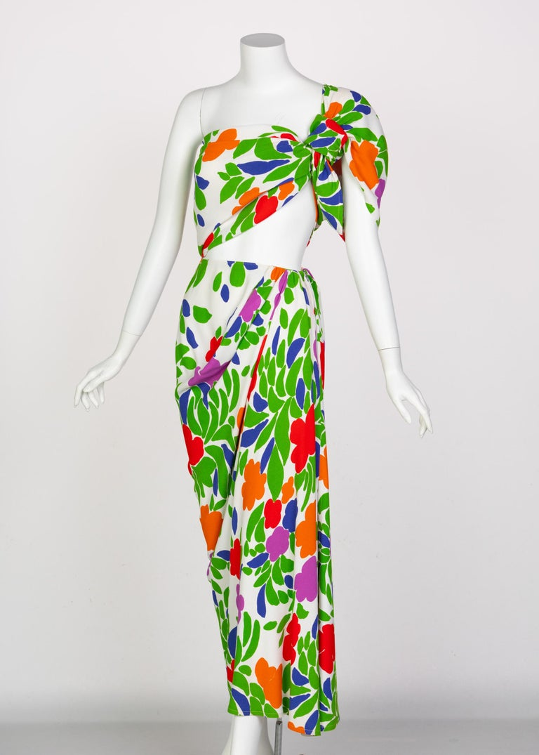 Yves Saint Laurent Floral Draped One Shoulder Top Skirt Ensemble YSL, 1970s In Good Condition For Sale In Boca Raton, FL