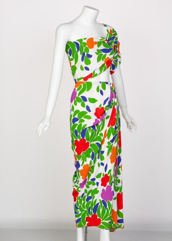 Women's Yves Saint Laurent Floral Draped One Shoulder Top Skirt Ensemble YSL, 1970s For Sale