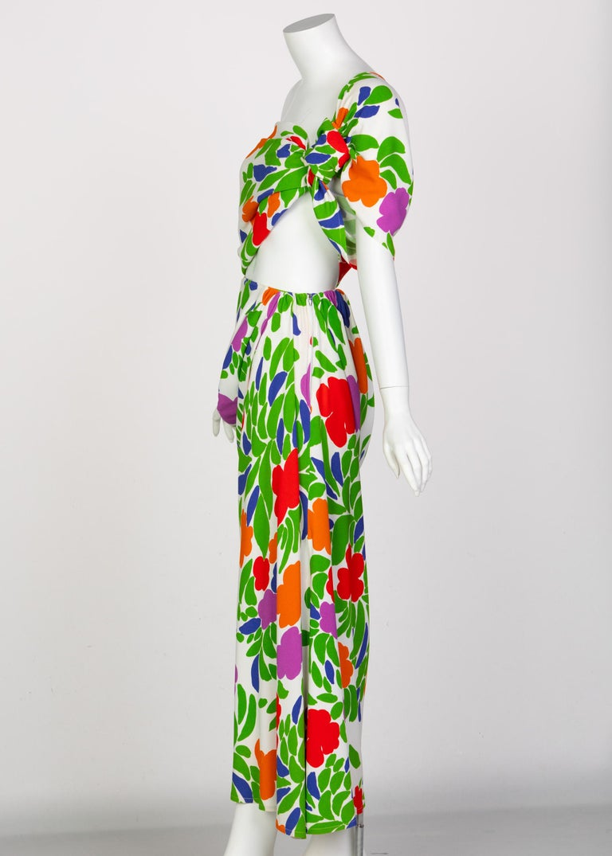 Yves Saint Laurent Floral Draped One Shoulder Top Skirt Ensemble YSL, 1970s For Sale 1