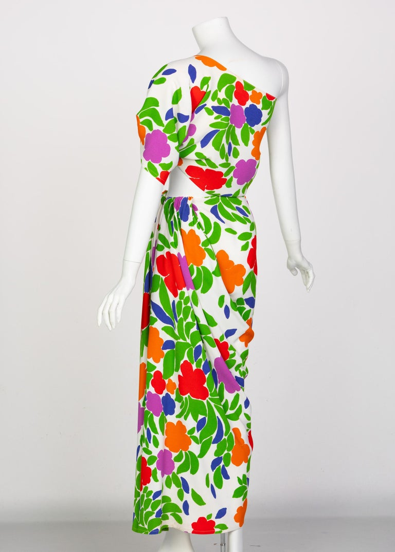 Yves Saint Laurent Floral Draped One Shoulder Top Skirt Ensemble YSL, 1970s For Sale 2