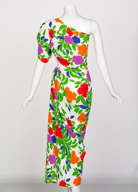 Yves Saint Laurent Floral Draped One Shoulder Top Skirt Ensemble YSL, 1970s For Sale 3