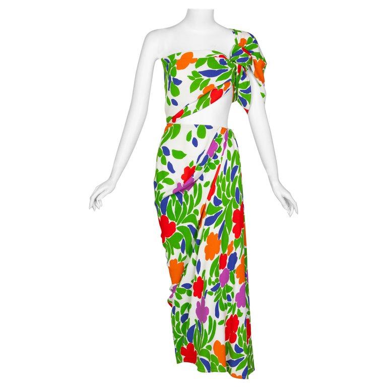 Yves Saint Laurent Floral Draped One Shoulder Top Skirt Ensemble YSL, 1970s For Sale