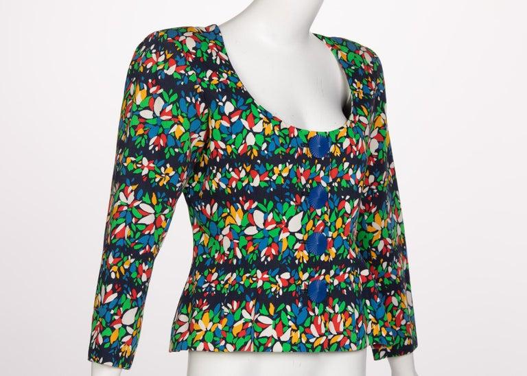 Black Yves Saint Laurent Floral Peplum Jacket Top, 1990s For Sale