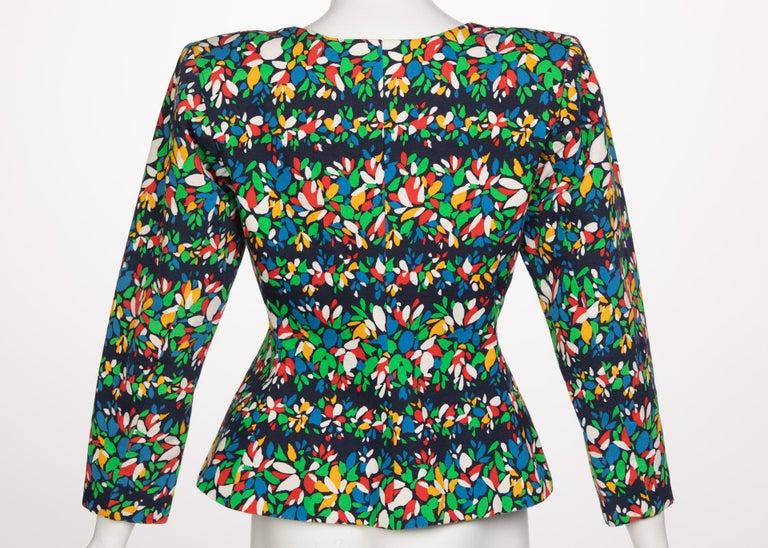 Women's Yves Saint Laurent Floral Peplum Jacket Top, 1990s For Sale