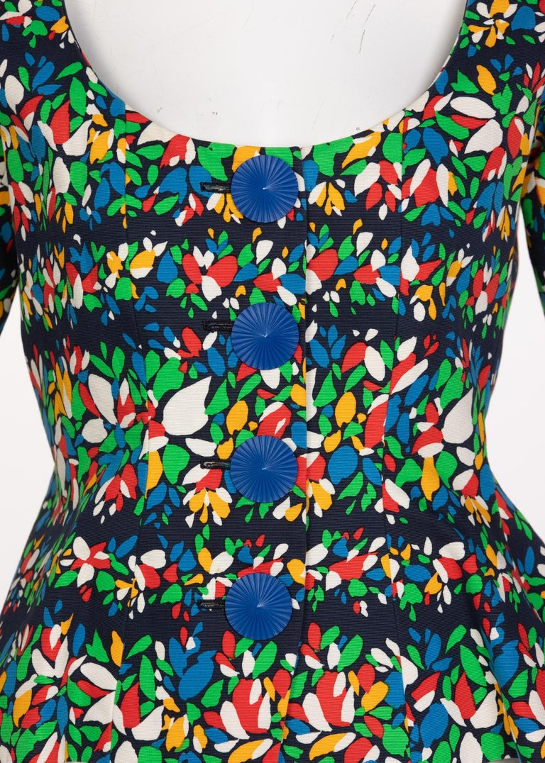 Yves Saint Laurent Floral Peplum Jacket Top, 1990s For Sale 1
