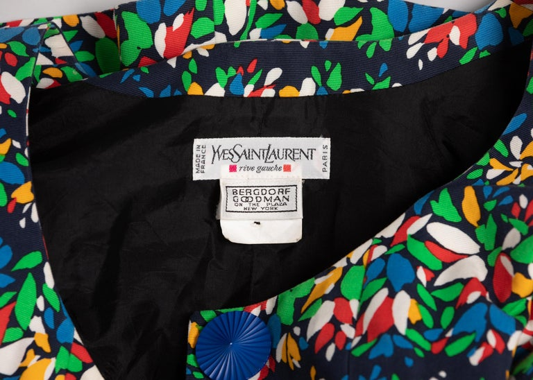 Yves Saint Laurent Floral Peplum Jacket Top, 1990s For Sale 3