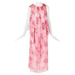 Yves Saint Laurent Floral Print Chiffon Layered Sleeveless Tunic-Style Dress