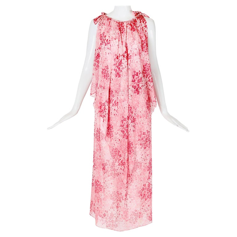 Yves Saint Laurent Floral Print Chiffon Layered Sleeveless Tunic-Style Dress For Sale