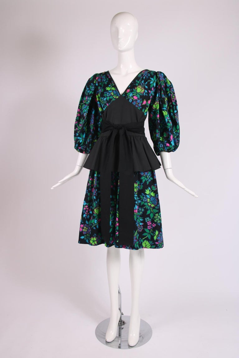 Yves Saint Laurent Floral Print Cotton Day Dress w/Black Peplum & Self Belt In Excellent Condition For Sale In Los Angeles, CA