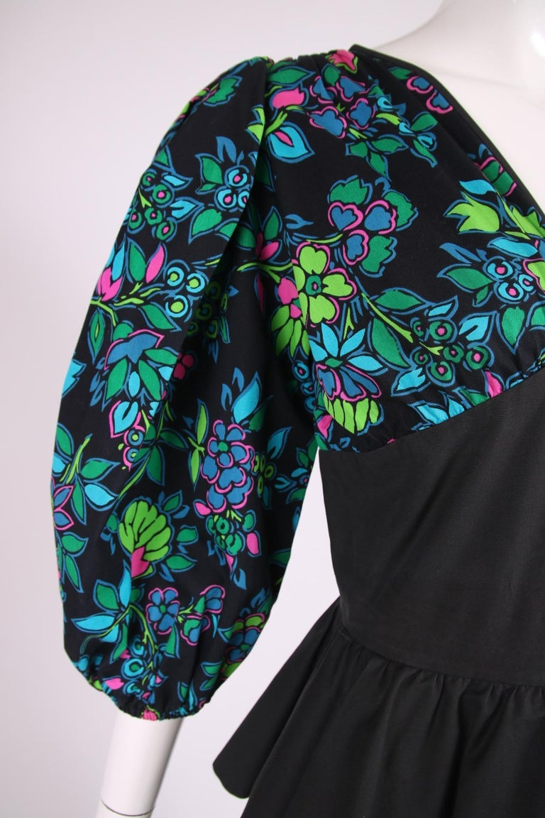 Yves Saint Laurent Floral Print Cotton Day Dress w/Black Peplum & Self Belt For Sale 1
