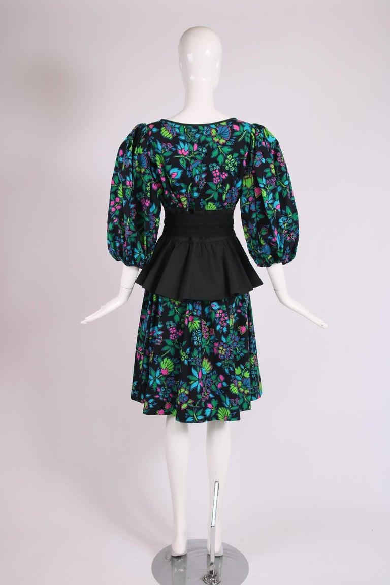 Yves Saint Laurent Floral Print Cotton Day Dress w/Black Peplum & Self Belt For Sale 2