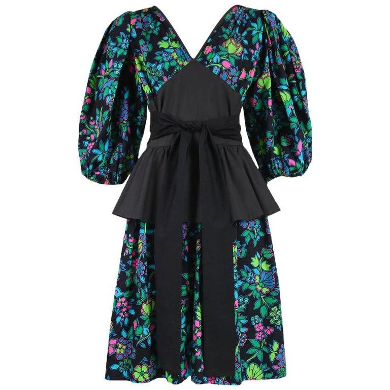 Yves Saint Laurent Floral Print Cotton Day Dress w/Black Peplum & Self Belt For Sale