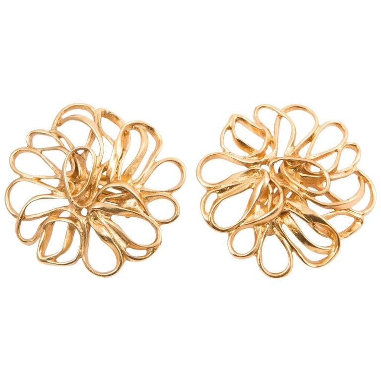 Yves Saint Laurent Flower Gold Tone Clip On Earrings For Sale