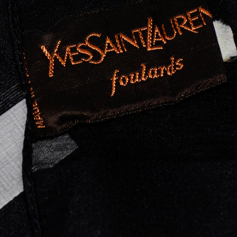 Yves Saint Laurent Foulards Silk Oversized Large Black Sheer Scarf or Shawl Wrap For Sale 6