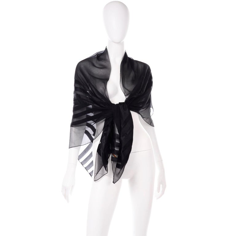 Yves Saint Laurent Foulards Silk Oversized Large Black Sheer Scarf or Shawl Wrap In Excellent Condition For Sale In Portland, OR