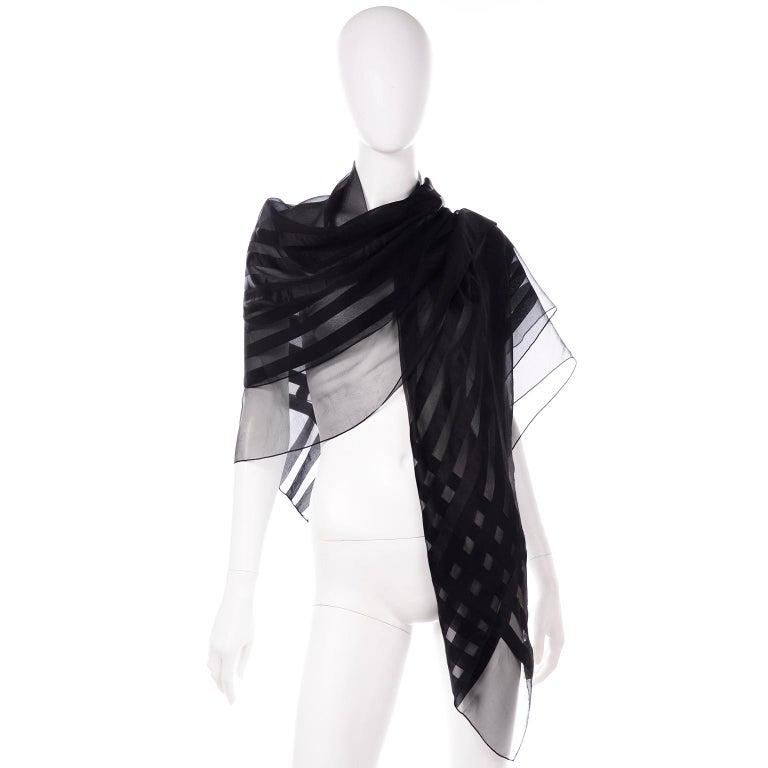 Women's Yves Saint Laurent Foulards Silk Oversized Large Black Sheer Scarf or Shawl Wrap For Sale