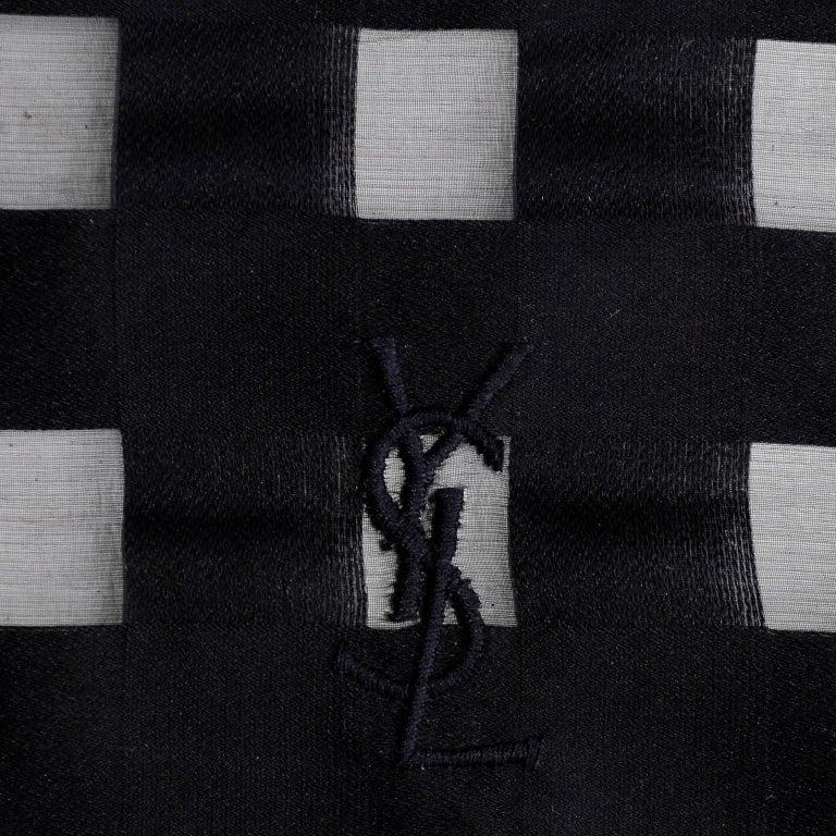 Yves Saint Laurent Foulards Silk Oversized Large Black Sheer Scarf or Shawl Wrap For Sale 1