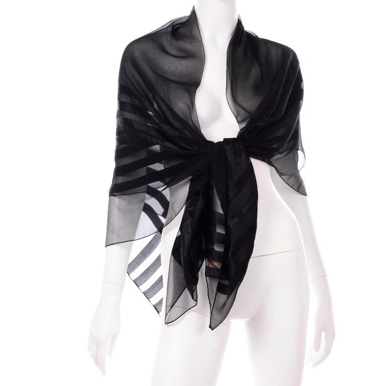 Yves Saint Laurent Foulards Silk Oversized Large Black Sheer Scarf or Shawl Wrap For Sale 2