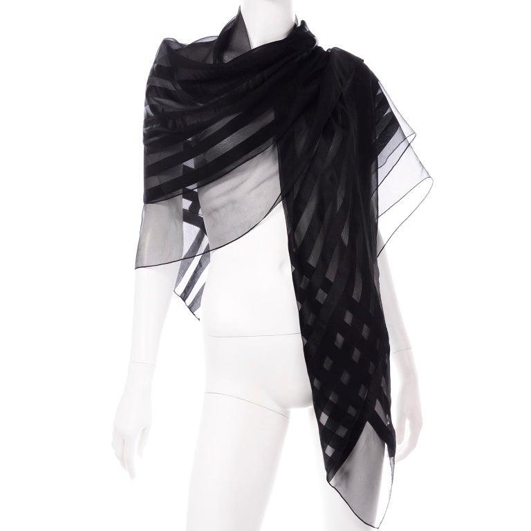 Yves Saint Laurent Foulards Silk Oversized Large Black Sheer Scarf or Shawl Wrap For Sale 3