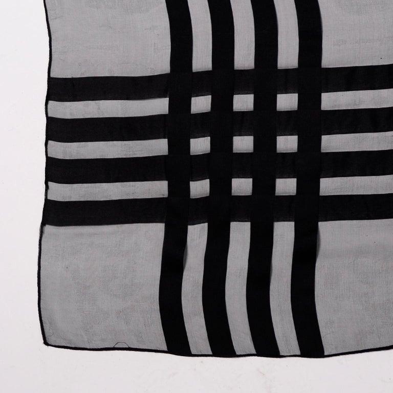 Yves Saint Laurent Foulards Silk Oversized Large Black Sheer Scarf or Shawl Wrap For Sale 4