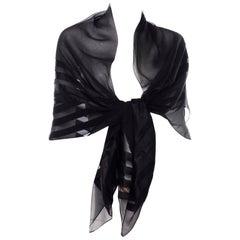 Yves Saint Laurent Foulards Silk Oversized Large Black Sheer Scarf or Shawl Wrap